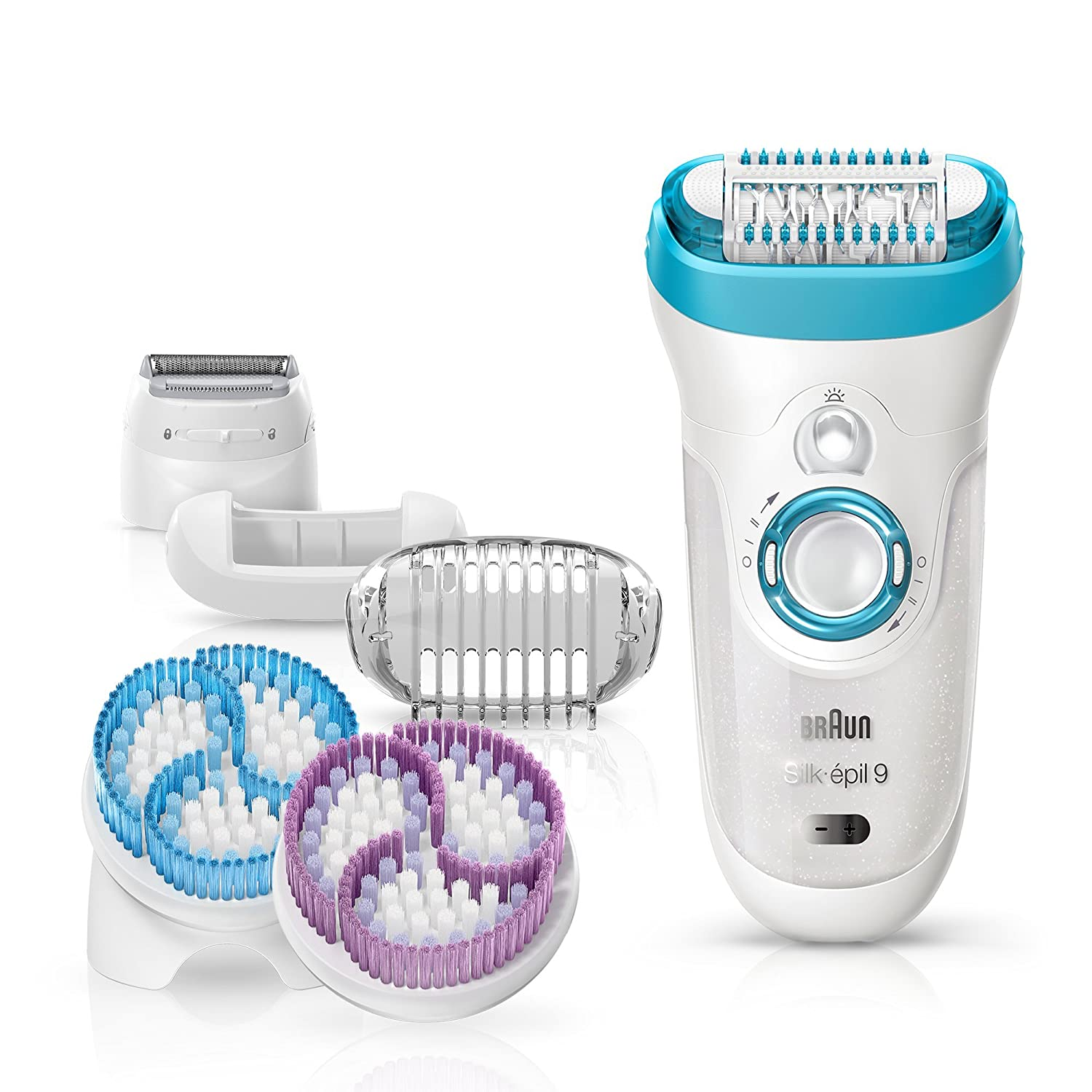 Braun Silk-épil 9 9-961e SkinSpa 4-in-1 Wet and Dry Epilator and Exfoliation System with 6 Extras, White Procter & Gamble 81475989
