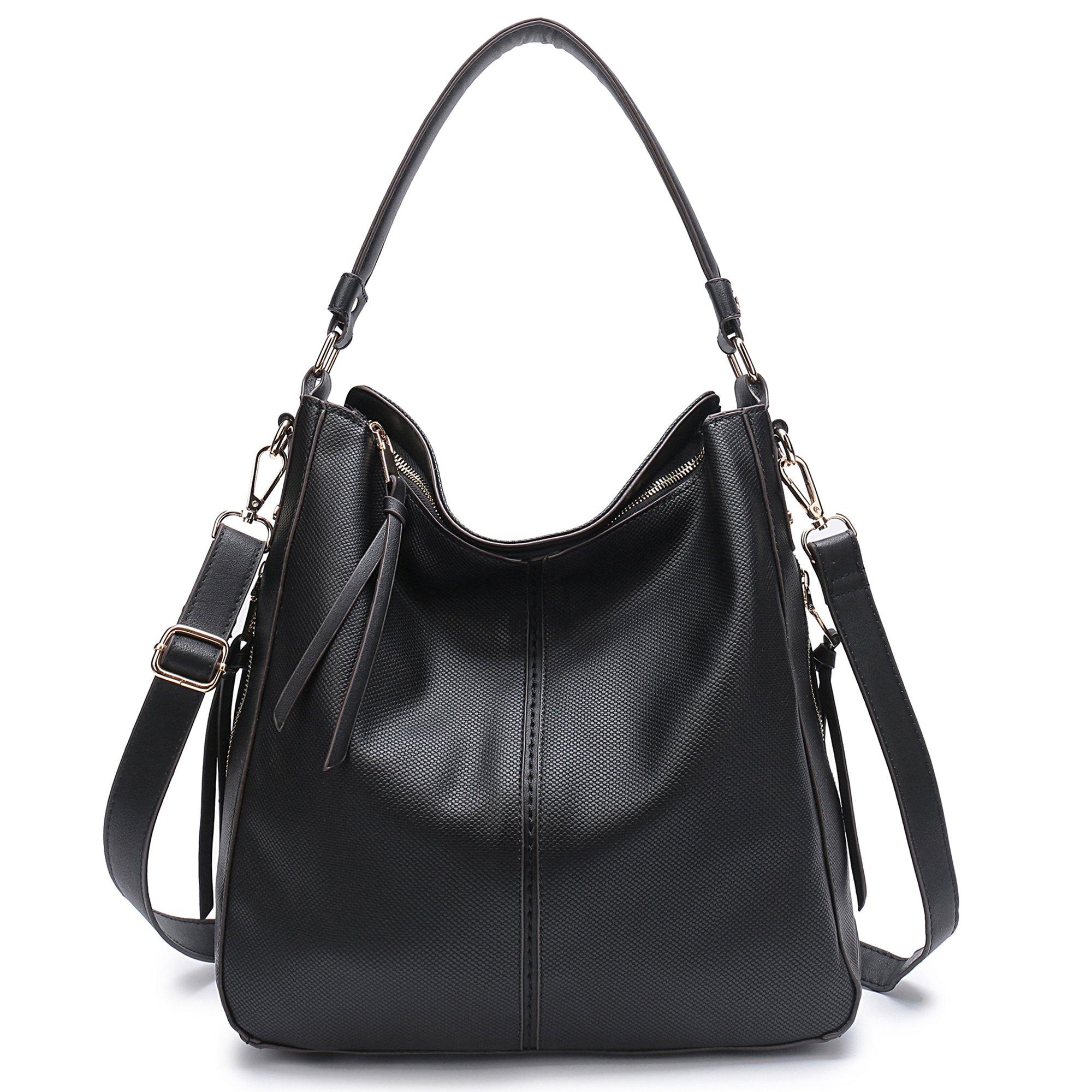 DDDH Vintage Hobo Handbags Shoulder Bags Durable Leather Tote Messenger Bags Bucket Bag For Women/Ladies/Girls (Black-1)