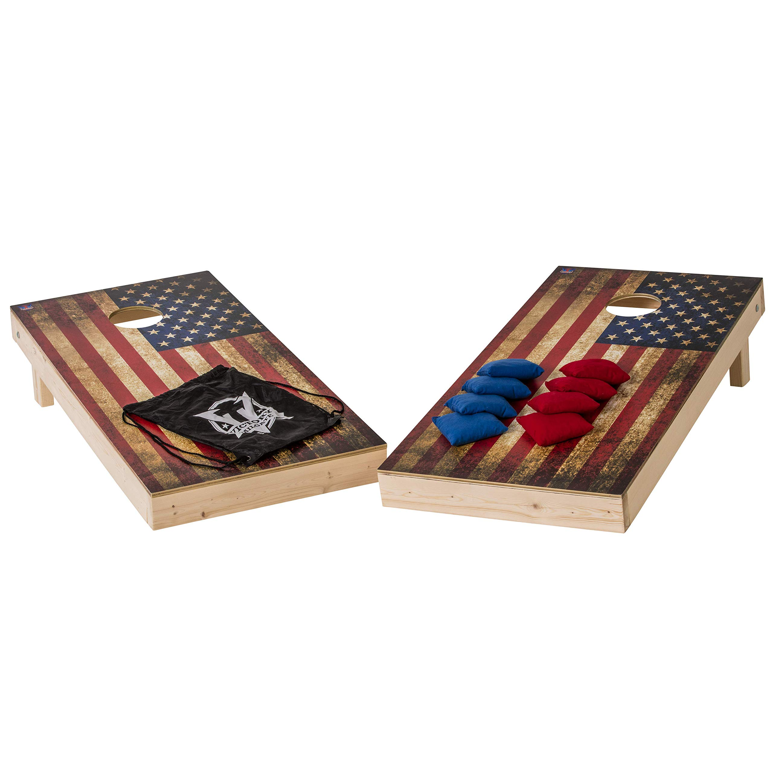 Victory Tailgate Vintage American Flag Cornhole Set - Two 2'x4' Boards, Eight 6x6, 16oz Bags, 1 Drawstring Carry Case for Bags by Victory Tailgate