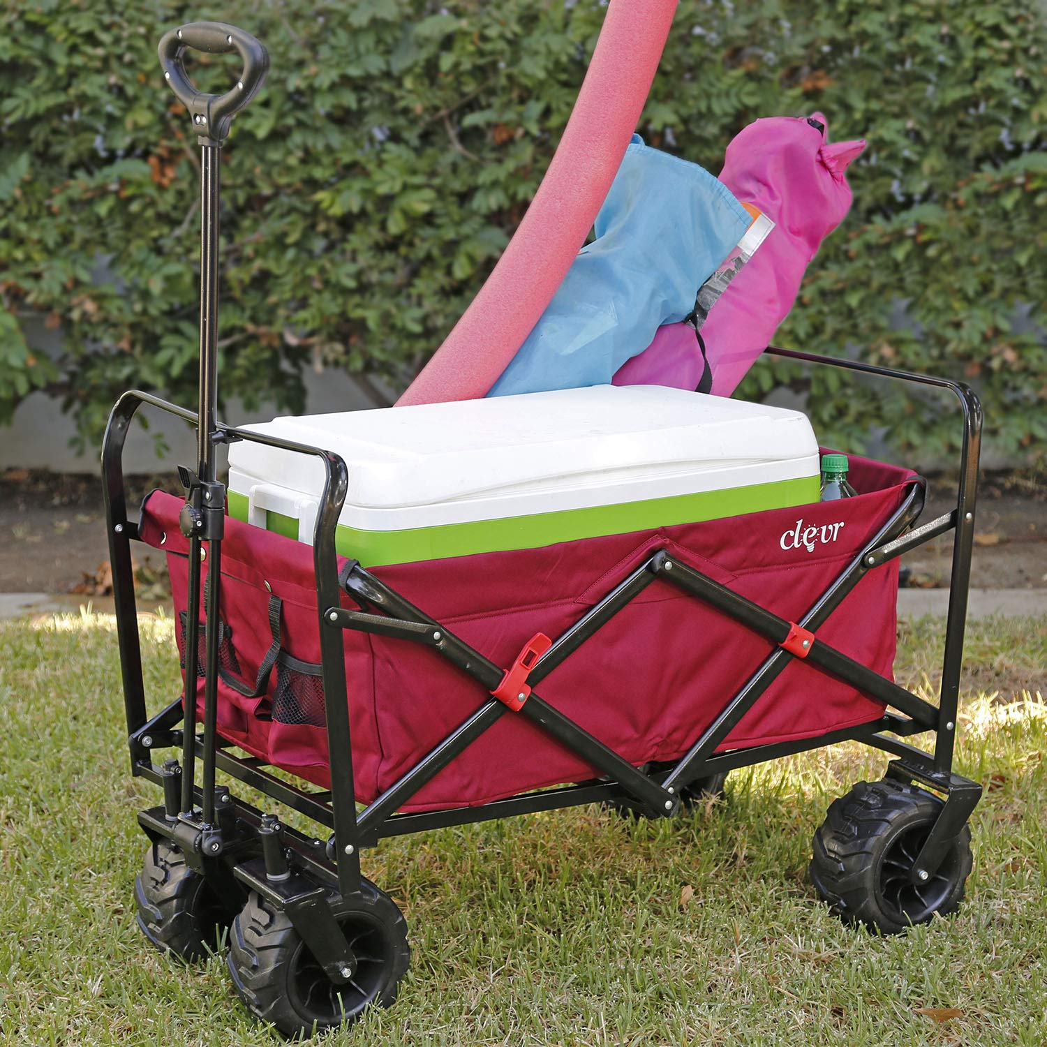 Clevr Collapsible Foldable Outdoor Wagon Cart with Large All Terrain Wheels, Red 265 Lb Capacity, Easy Folding Utility Garden Transport Trolley, Great for Parties, Shopping, Beach, Park, Sports by Clevr