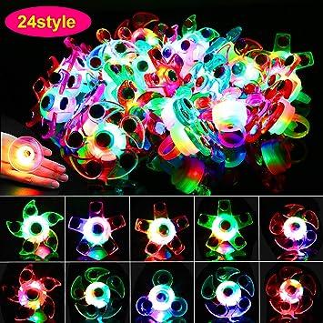 HOWAF 24 Piezas LED Anillos Luminosos Juguetes Favores de ...