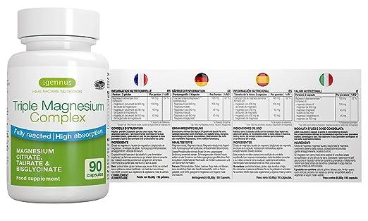 Triple Magnesium Complex, Citrato de magnesio completamente reaccionado, taurato y bisglicinato, Vegano, 90 Cápsulas: Amazon.es: Salud y cuidado personal
