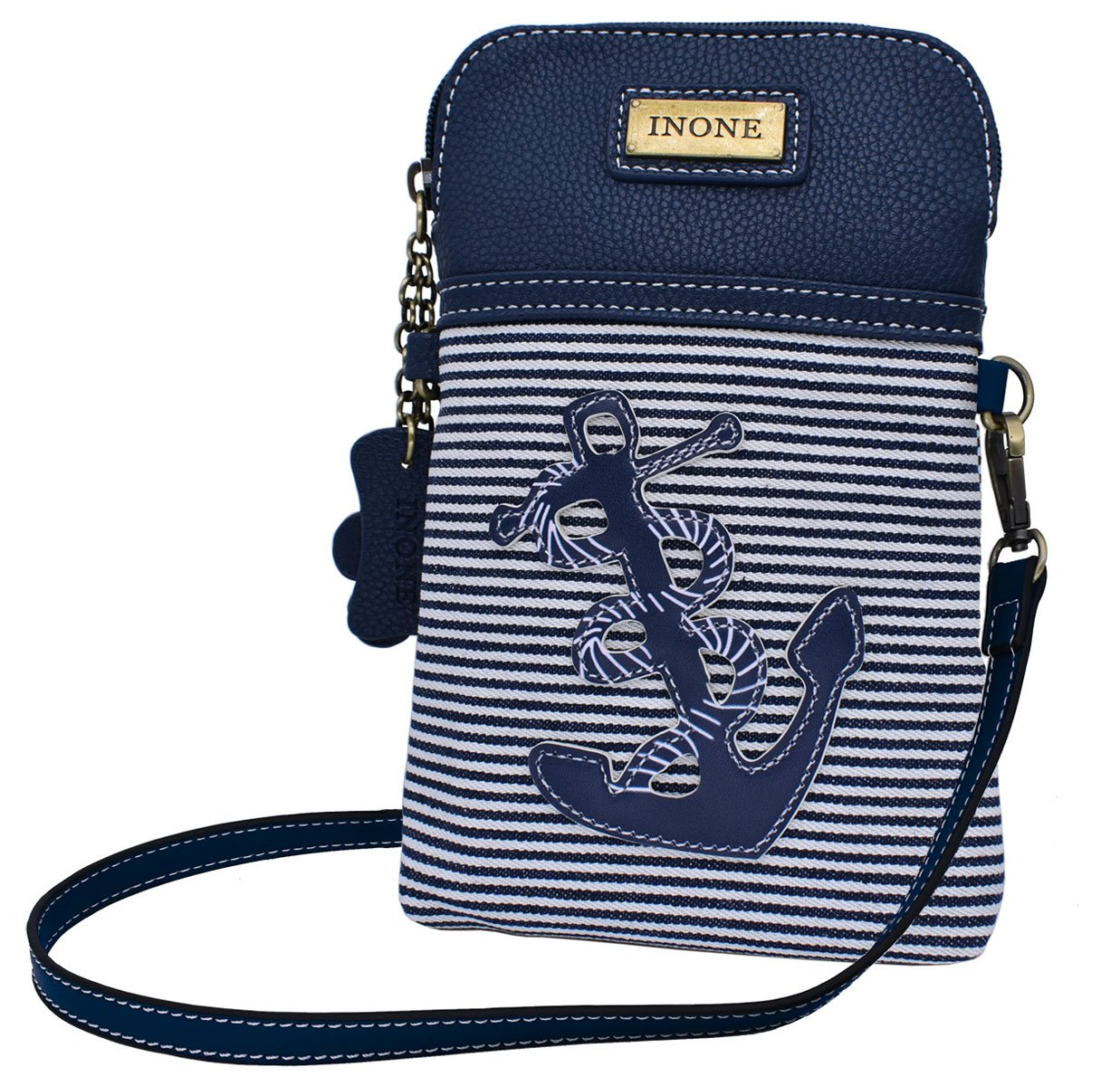 Anchor Crossbody Bag Nautical iPhone Cell Phone Purse Bag PU Leather Canvas Handbag for Smartphone Credit Card Passport Keys by inOne (Image #1)