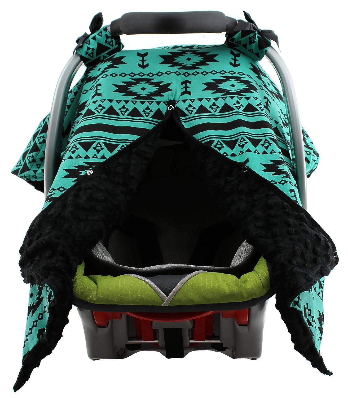 Dear Baby Gear Baby Blankets Aztec Teal Black Black Minky