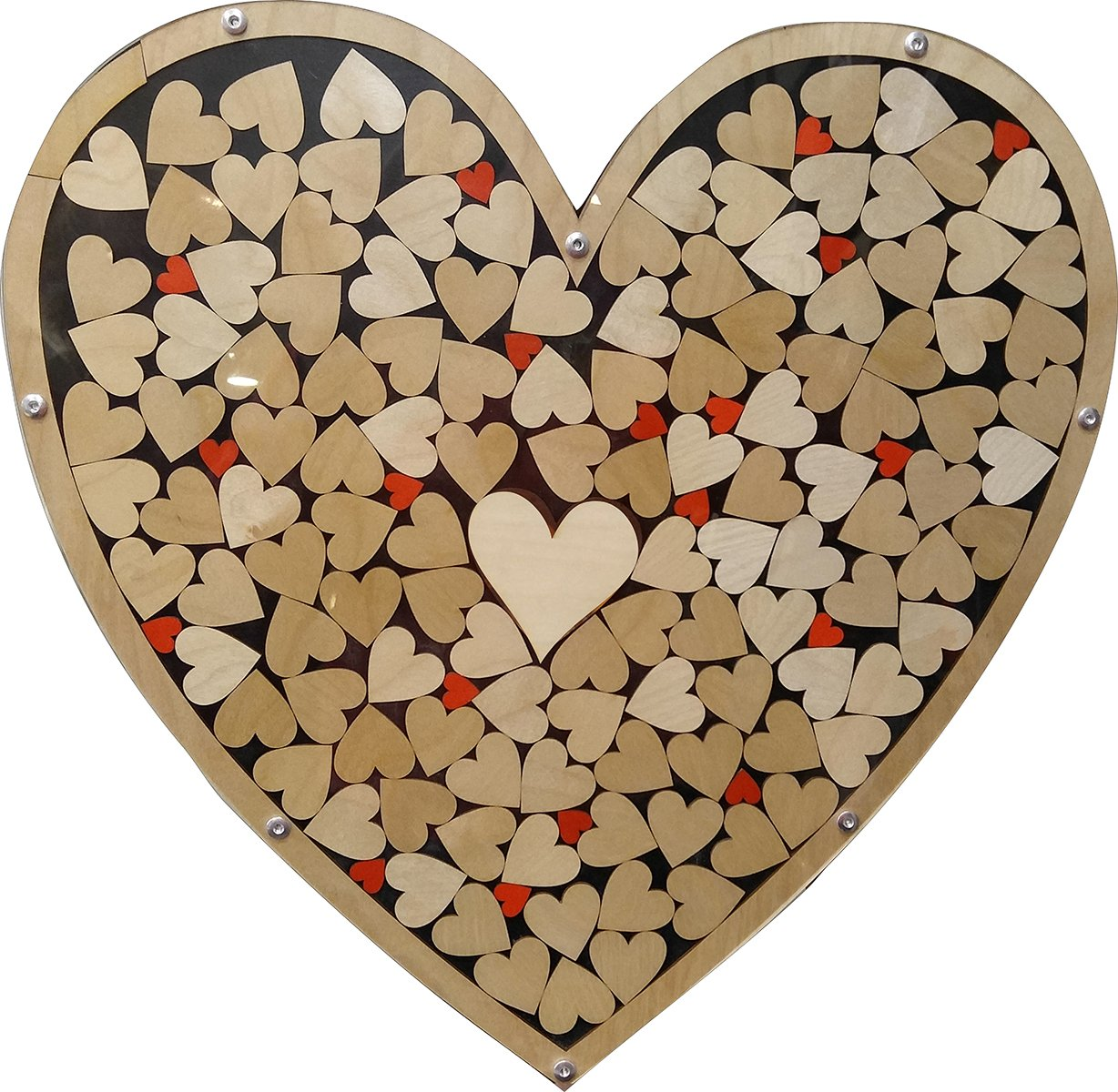 Heart Drop Alternative Wedding Guest Book Wood Shadow Box with 1.5'' Heart Charms
