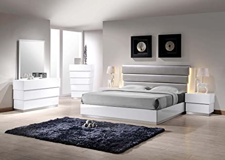 Amazon.com: Modern White Lacquer Florence Queen Bedroom 4pc Set ...