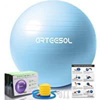 arteesol Exercise Ball 45cm/55cm/65cm/75cm/85cm Yoga Ball, Multiple Color Anti-Burst Birthing Ball Pregnancy Ball, Ball…