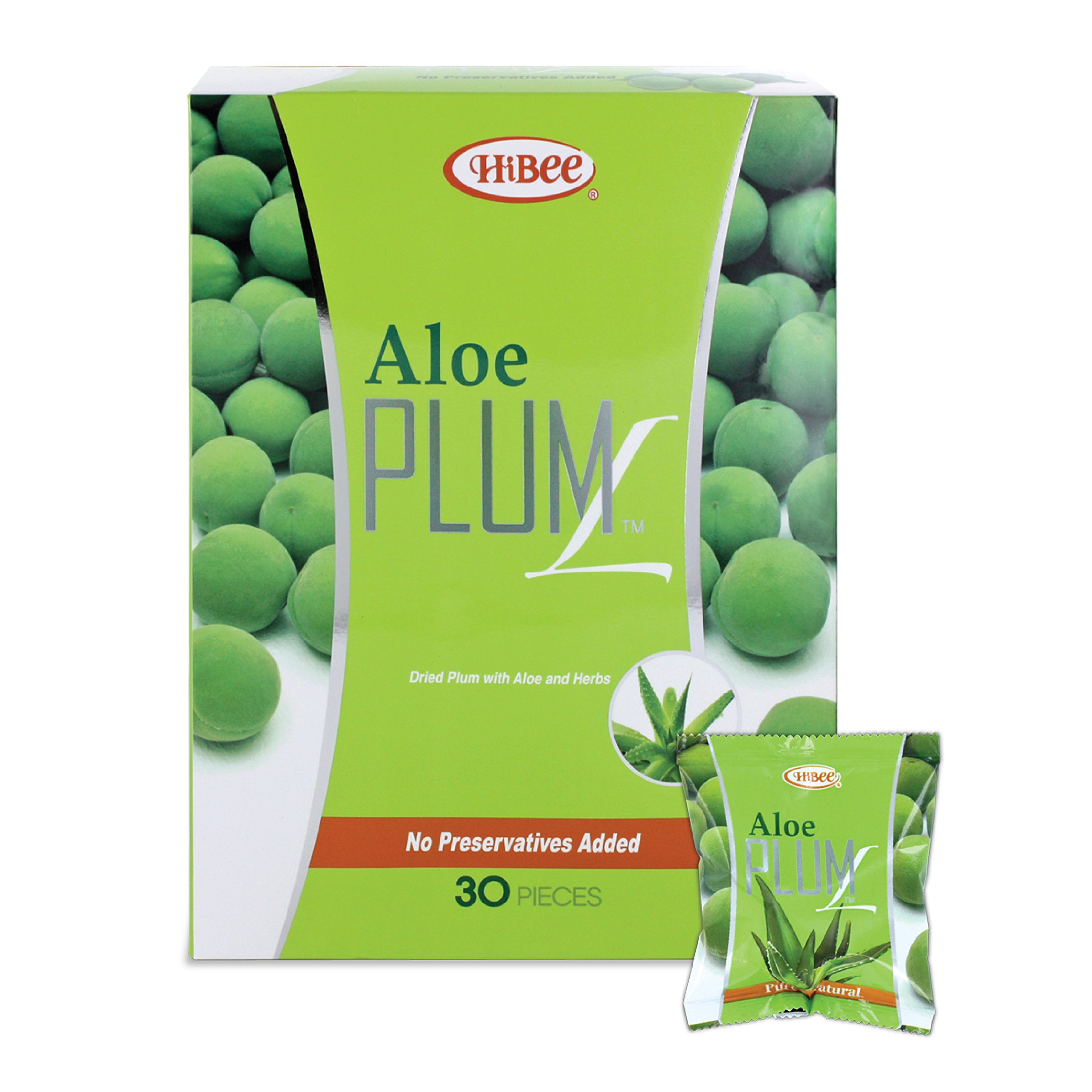HiBee Aloe Plum L Constipation Relief - Dried Plums with Aloe & Herbs - All-Natural Laxative & Colon Detox Cleanse - Whole Food Laxative, Promotes Healthy Weight Loss & Fat Burning - Pack of 30