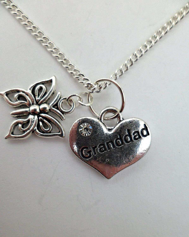 SILVER NECKLACE Butterfly Granddad Love Heart Gem Pendant