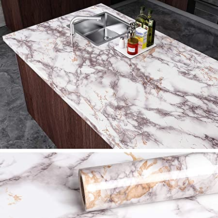 VEELIKE Sticky Back Plastic Roll Marble Wallpaper Kitchen Worktop Covering 40cm x 900cm Marble Effect Contact Paper Black Washable Wallpaper Self Adhesive Film for Kitchen Bedroom Living Room