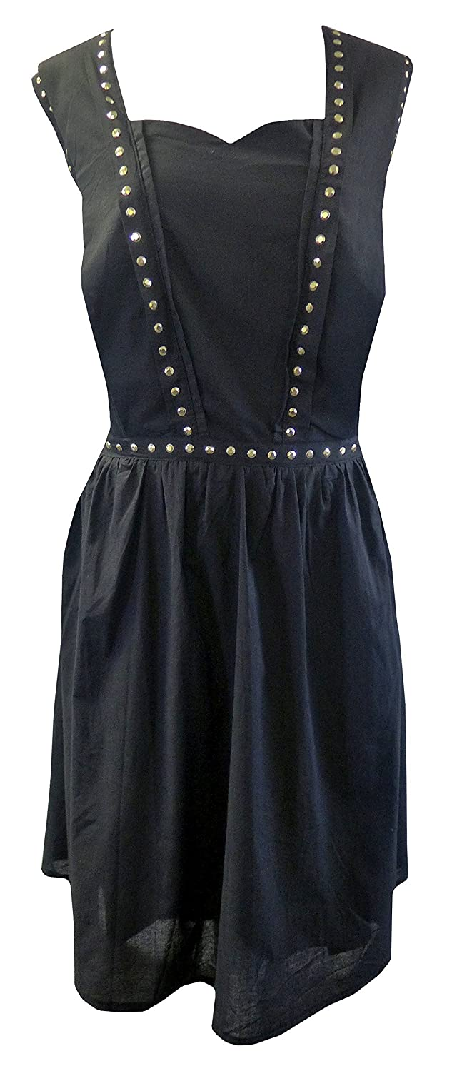 be7bd0704ee1 Black Vintage Style Gothic Flared 100% Cotton Gold Stud Skater Dress Sizes  14-24 at Amazon Women s Clothing store