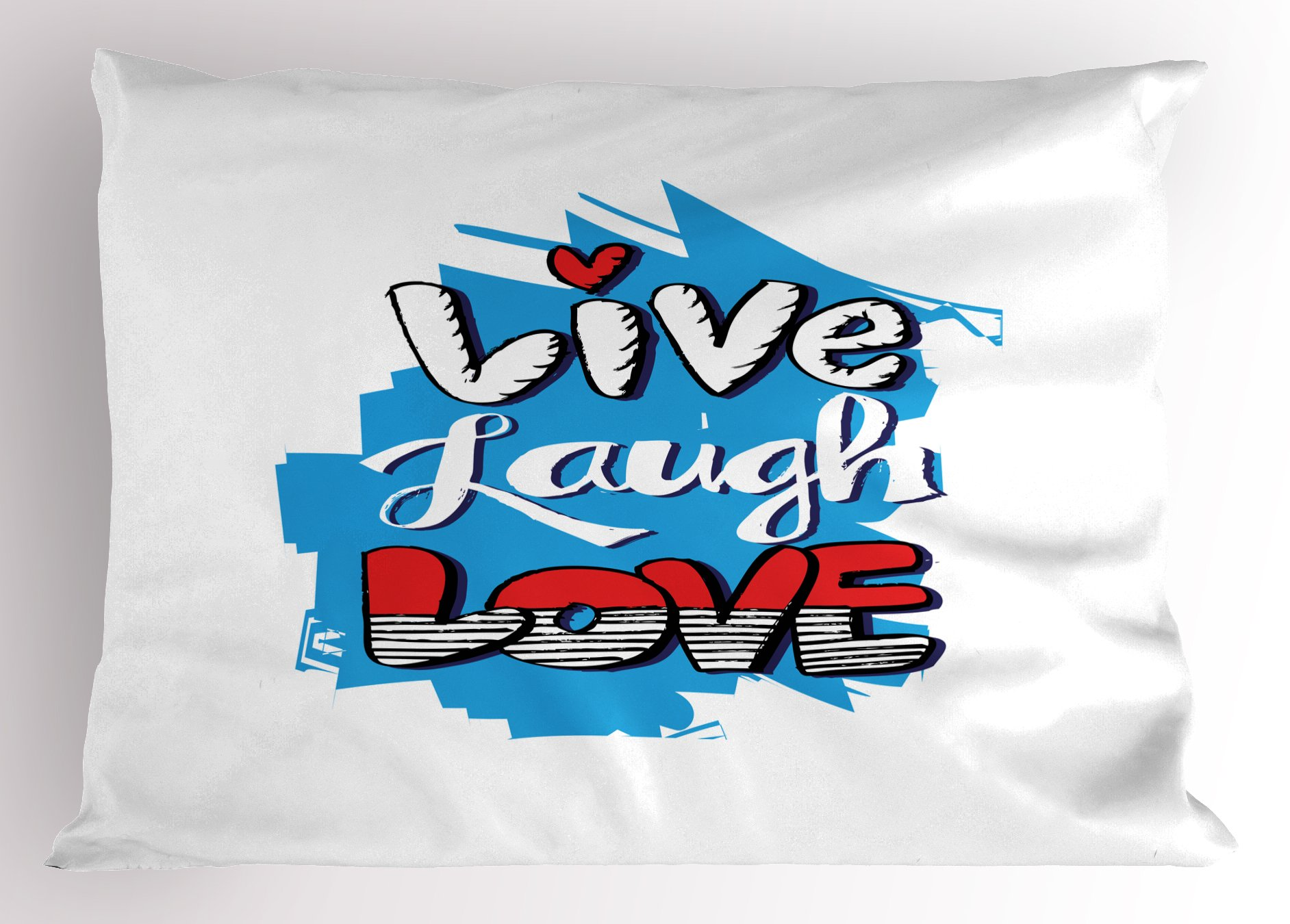 Ambesonne Live Laugh Love Pillow Sham, Abstract Grunge Graffiti Happiness Invoking Message Wall Art Design, Decorative Standard Queen Size Printed Pillowcase, 30 X 20 inches, Blue Red Black