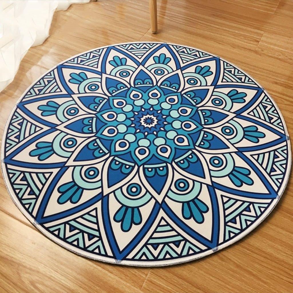 Interior carpet Round Living Room Bedroom Carpet Vintage Garden Blue Bedside Fitness Yoga Basket Non-slip Mats blanket ( Size : ROUND-180cm )