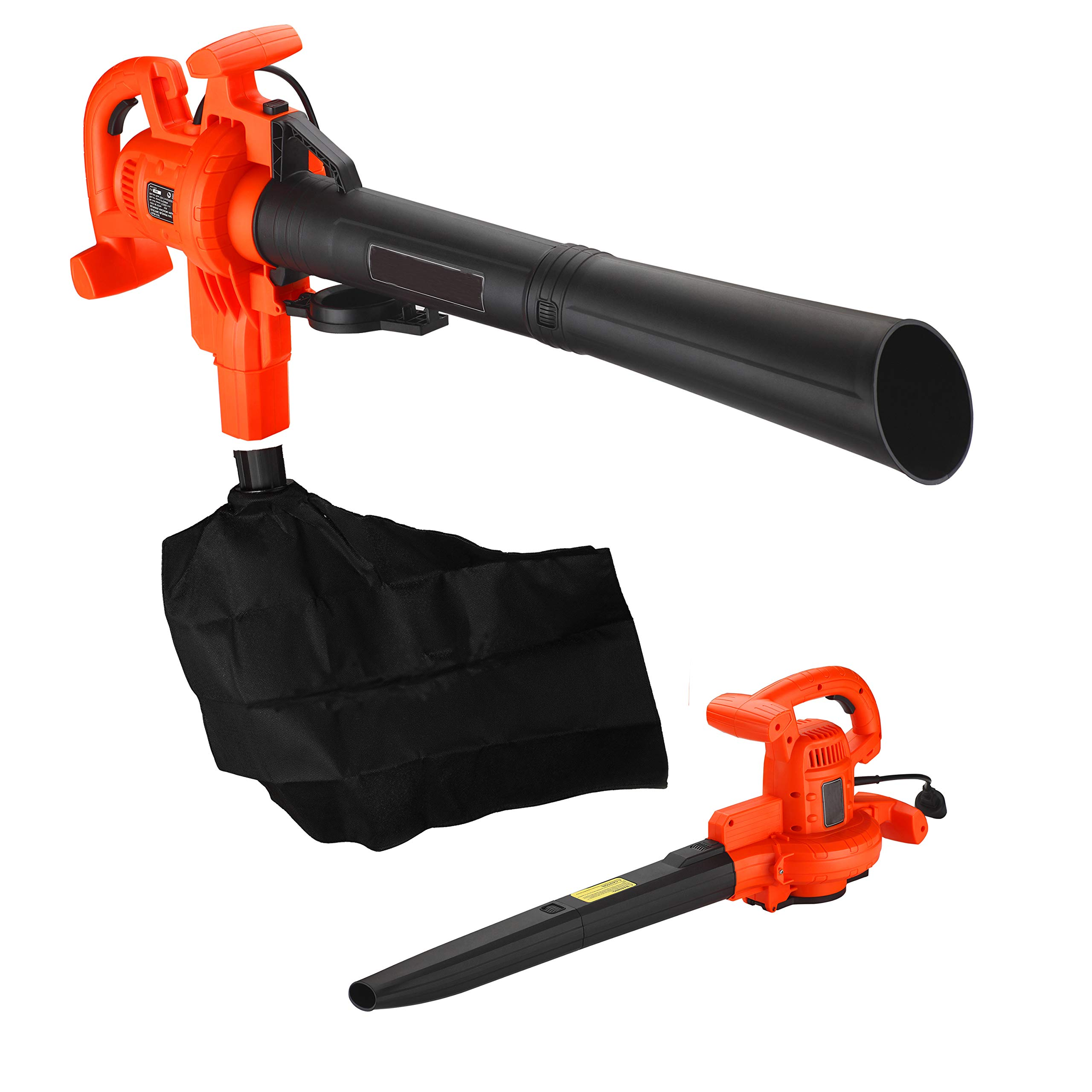 Hephaestus 210 MPH Electric Corded Leaf Blower Vacuum with 12 AMP Motor Variable Speed Control Included Mulch Bag