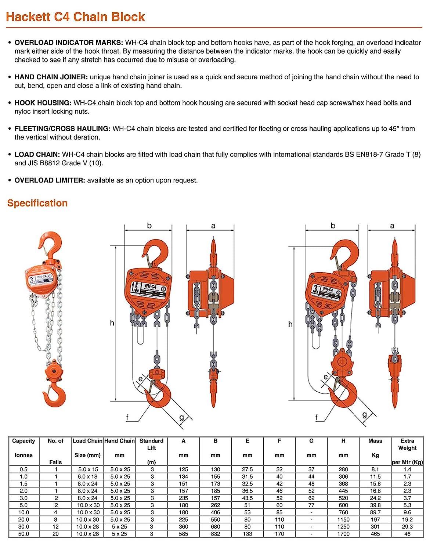 Hackett amz1023815/C4//à main cha/îne Palan 12/m Hauteur de levage 1.0/tonnes