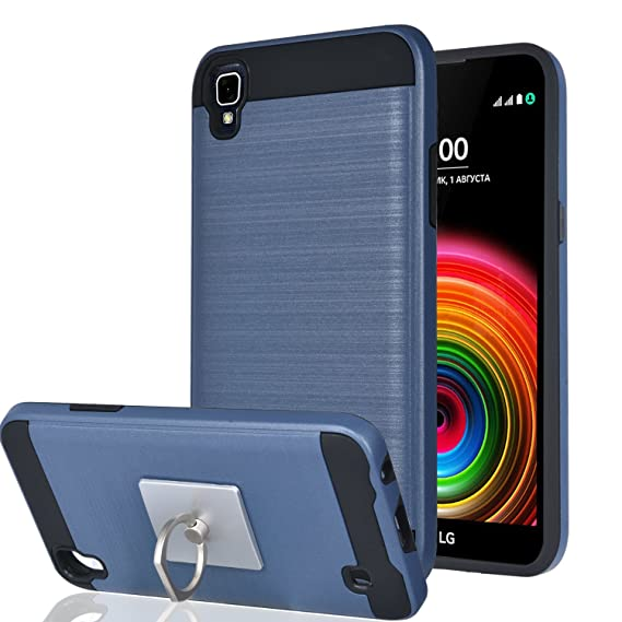cheaper d28d5 7c2ce LG X Power / LG K6P / LG K210 Case With Phone Stand,Ymhxcy [Metal Brushed  Texture] Hybrid Dual Layer Full-Body Shockproof Protective Cover Shell For  ...
