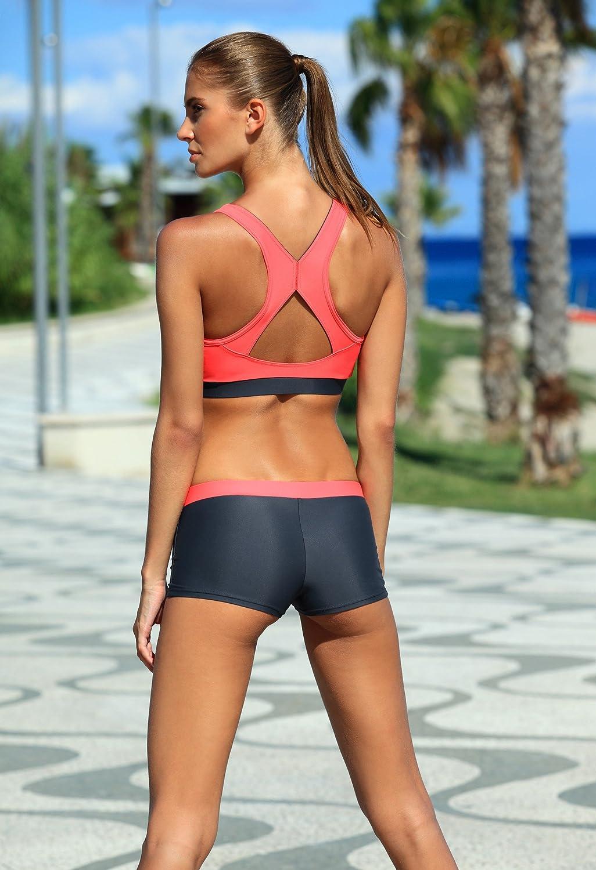 Aqua Speed/® Fiona Tankini Tessuto Vita Taglia:42 Colore:19 // Black Pink Resistente al Cloro//Crema Solare//Olio