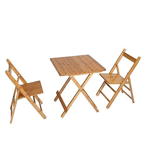 Amazon.com: unicoo – cuadrado de bambú mesa plegable con dos ...