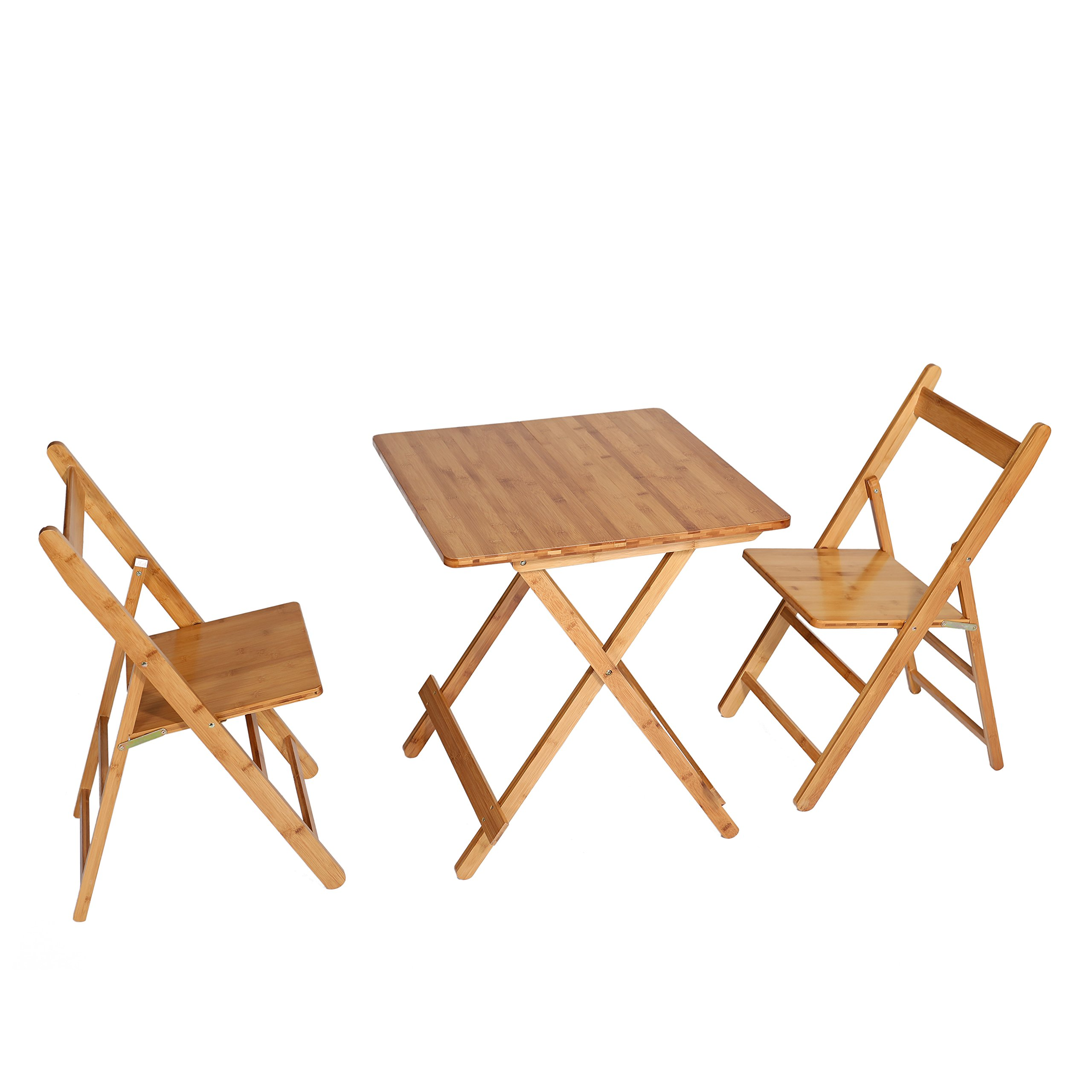 UNICOO - Bamboo Square Folding Deck Table, Card Tables,Patio Table, Bistro Set 3 Piece With Two Folding Chairs (T60-S)