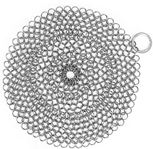 """Amagabeli 8""""x8"""" 316 Stainless Steel Cast Iron Cleaner Round Chainmail Scrubber for Cast Iron Pan Skillet Cleaner for Dishes Glass Pre-Seasoned Cast Iron Pot Seasoning Protection Cookware Accessories"""