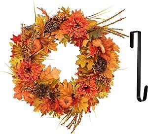 "MoonLa 22 inch Fall Door Wreath with 12"" Wreath Hanger, Autumn Maple Leaf Pumpkin Harvest Wreath for Thanksgiving Day Halloween Decorations Front Door Home Decor"