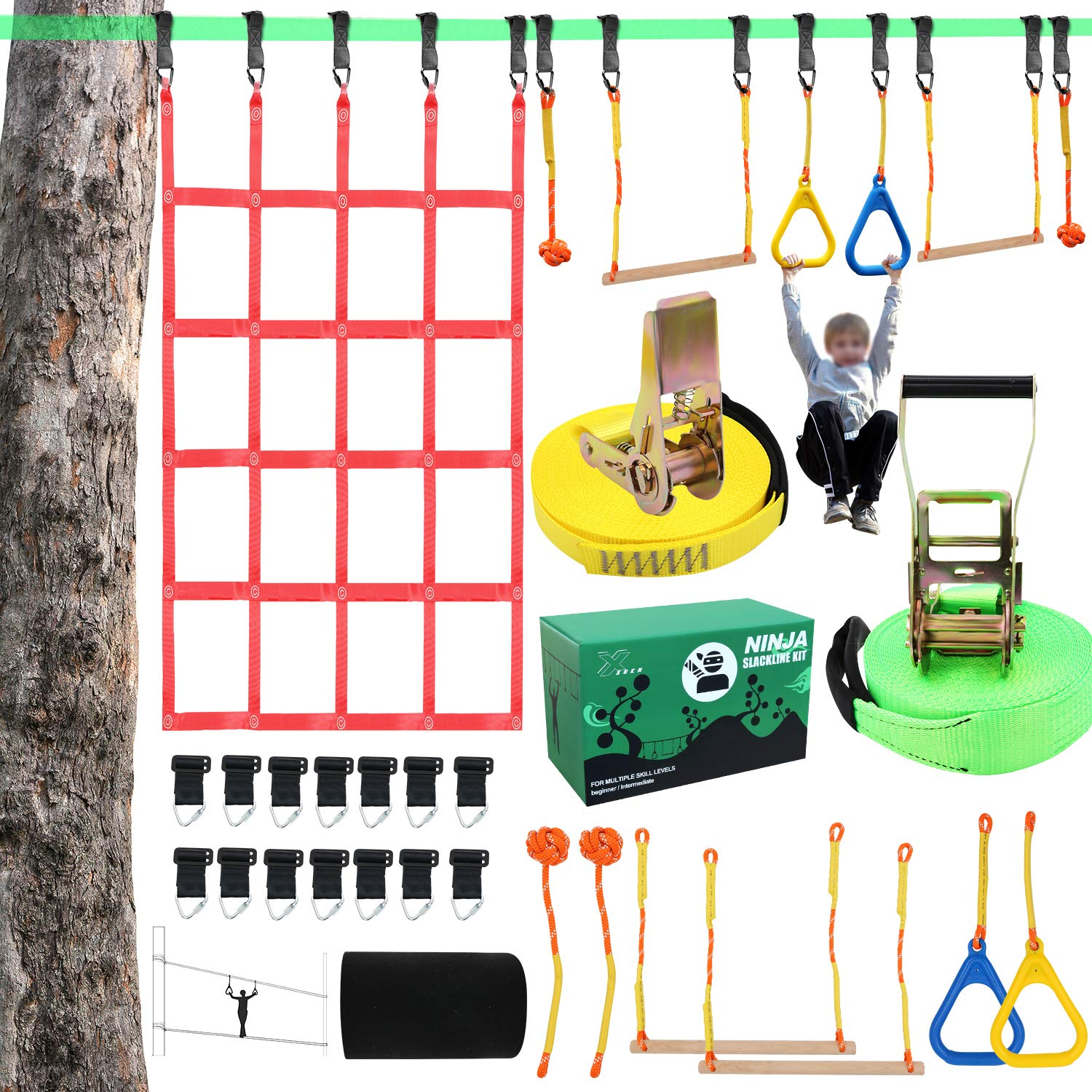 """X XBEN Obstacle Course Kids 50' Slackline Kit, Ninja Training Equipment for Adult, Come with Jungle Gym Monkey Bars, 78.7"""" 47.2"""" Climbing Net, Gymnastic Bar"""