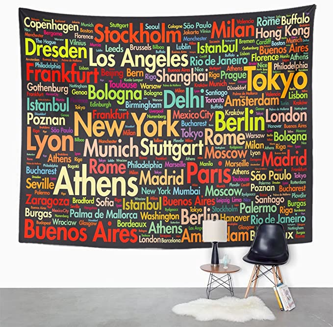 Amazon.com: Emvency Tapestry Collage Cities of The World ...