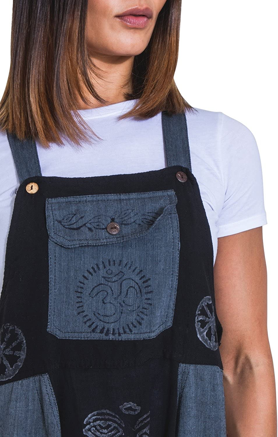 Wash Clothing Company Baggy Harem Dungarees Black-Blue Bib Overalls Boho Jumpsuit OPELDARK