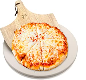 """Hans Grill Pizza Stone for Oven and Grill/BBQ Cook Pizzas in Seconds 15"""" Circular Board with Free Wooden Pizza Peel X Large 15 Inches Easy Handle Baking   Bake Grill, for Pies, Pastry Bread, Calzone"""