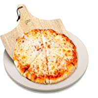 Hans Grill Pizza Stone for Oven and Grill/BBQ Cook Pizzas in Seconds 15″ Circular Board with Free Wooden Pizza Peel X Large 15 Inches Easy Handle Baking   Bake Grill, for Pies, Pastry Bread, Calzone