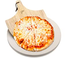 """Hans Grill Pizza Stone for Oven and Grill/BBQ Cook Pizzas in Seconds 15"""" Circular Board with Free Wooden Pizza Peel X Large 1"""