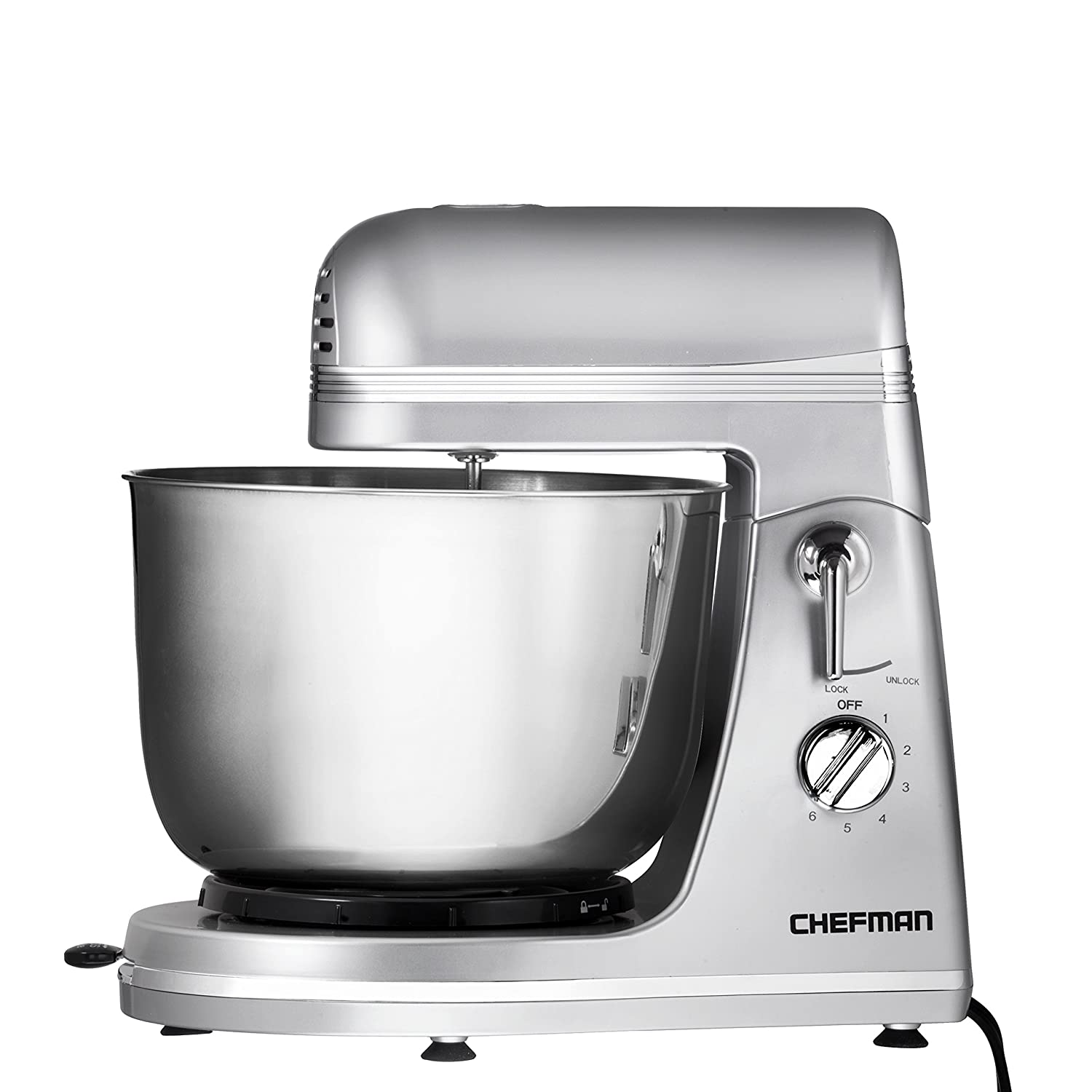 Chefman RJ32-S Ultra Power Stand Mixer W/Stainless Steel Bowl-Silver, 4 Qt