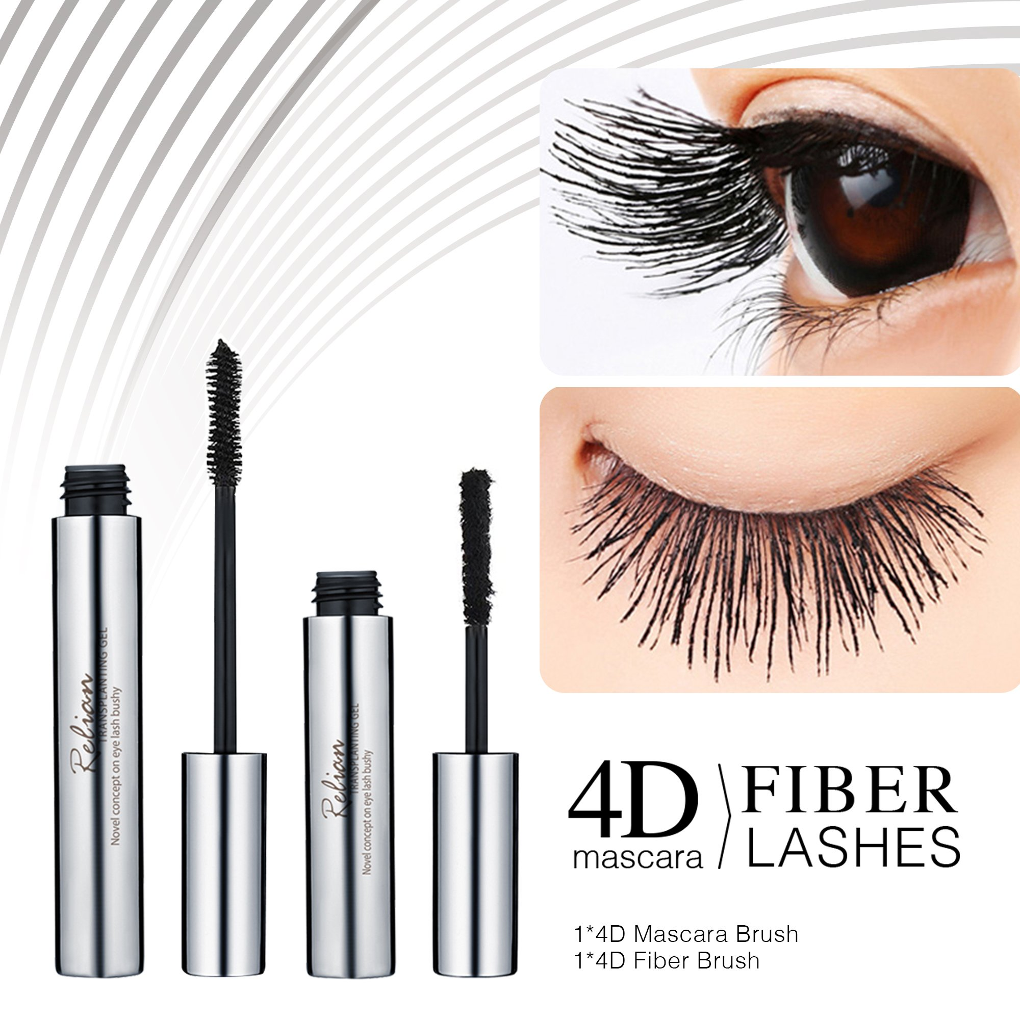 4D Silk Fiber Lash Mascara - DDK Waterproof Makeup Eyelash Extension Mascara Cream - Crazy Long Washable Mascara - Best for Thickening & Lengthening - Paraben-Free Natural & Non-Toxic Ingredients