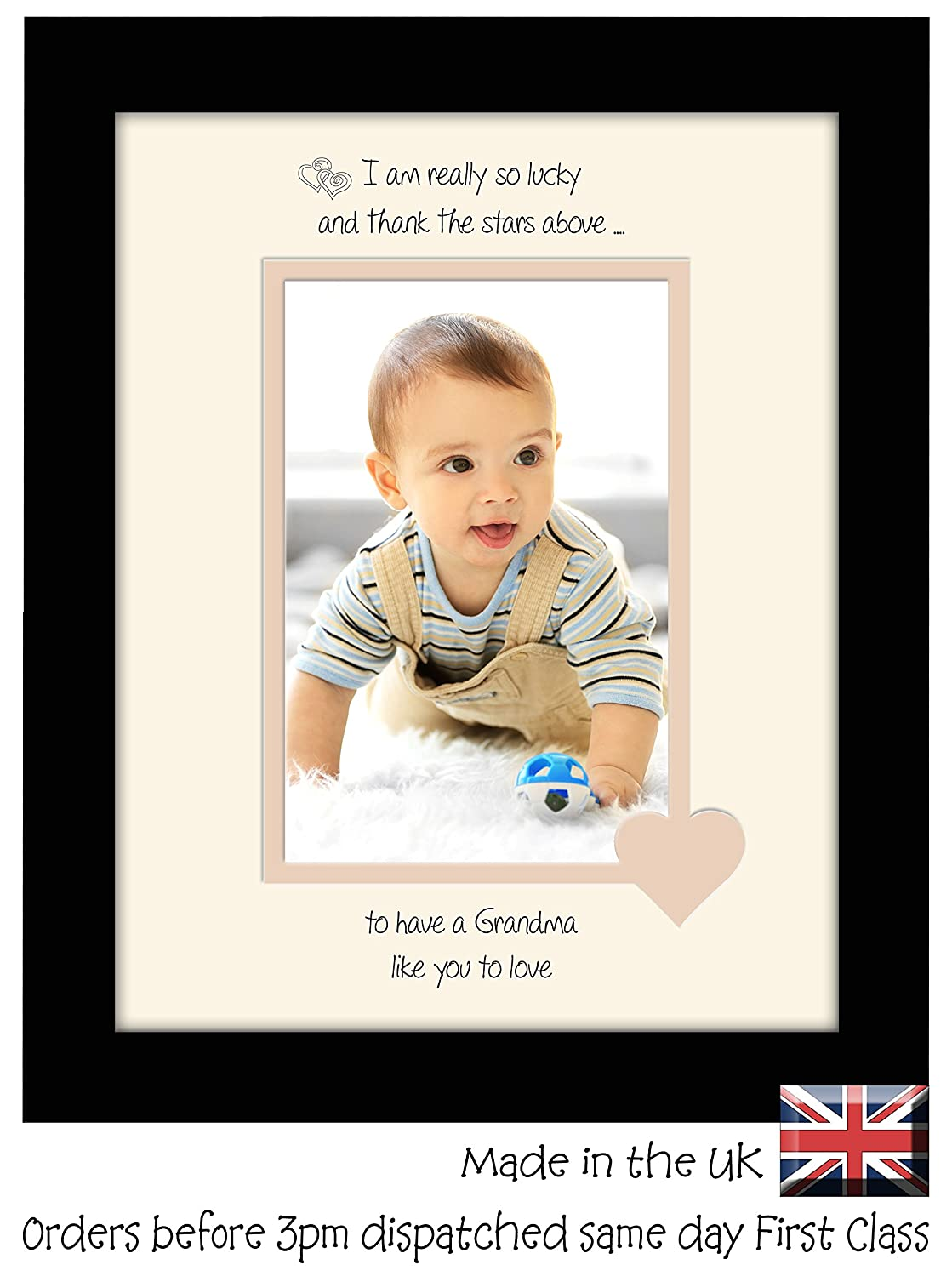 Grandma Photo Frame I Thank the Stars Portrait 1065F Double Mounted Quality Gift (Black Finish Frame Cream Mount Beige Inside) Photos in a Word