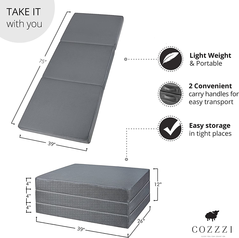 Cozzzi - Colchón Plegable Doble (10,16 cm de Grosor x 182,88 cm x ...
