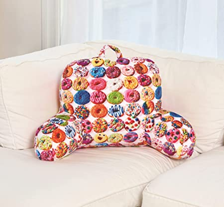 iscream Dozens of Donuts Silky Soft Plush Lounge and Reading Bed Support Pillow