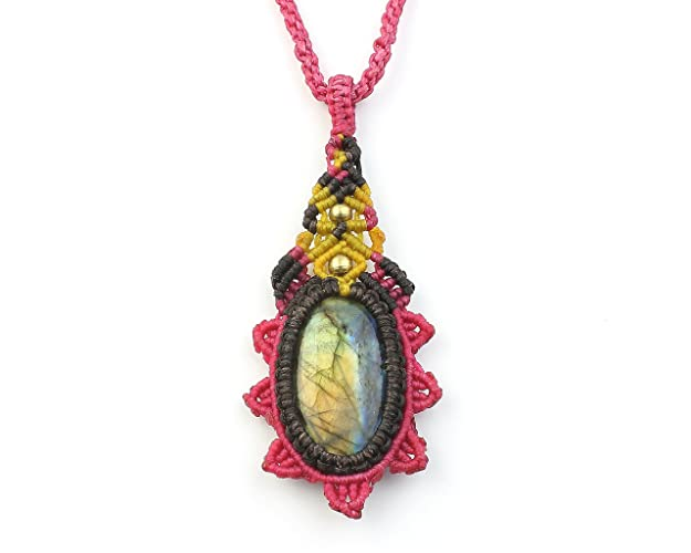 Boho hippie gypsy tribal  collier headpiece Blue Multifire  flashing Labradorite Macrame Necklace