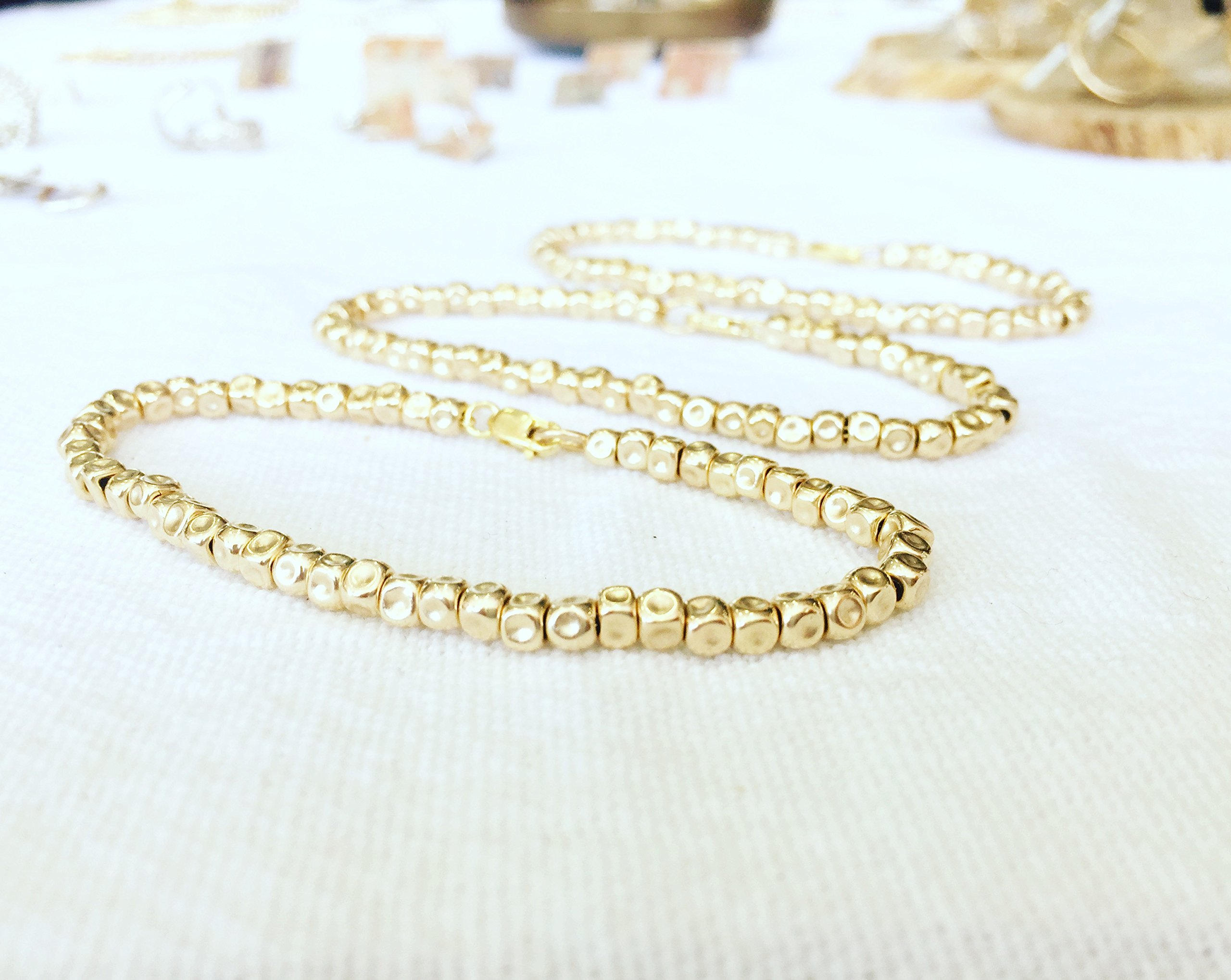 Boho Layered Bracelet Set Of Three Gold Filled Nuggets Or Sterling Silver Bracelets, Unique Artisan Handmade Jewelry