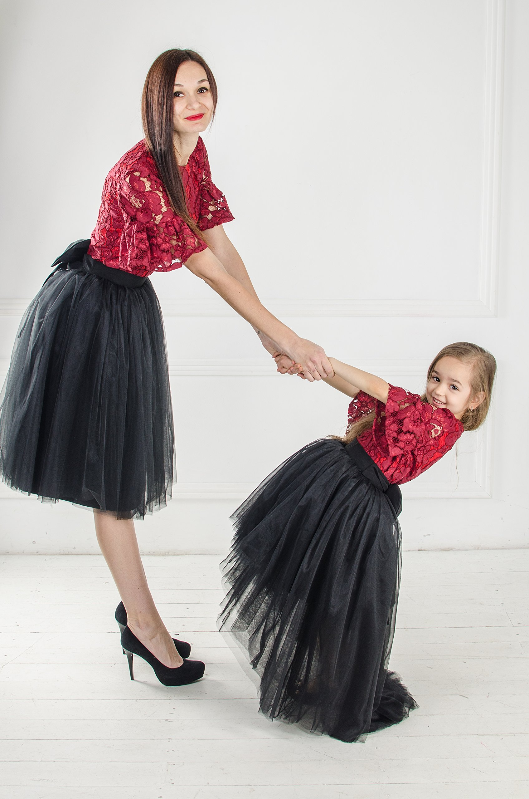 Burgundy and black tutu dresses Red and black matching dress dresses outfits Mother daughter Mommy and Me lace dresses Birthday dress Tutu by MatchingLook