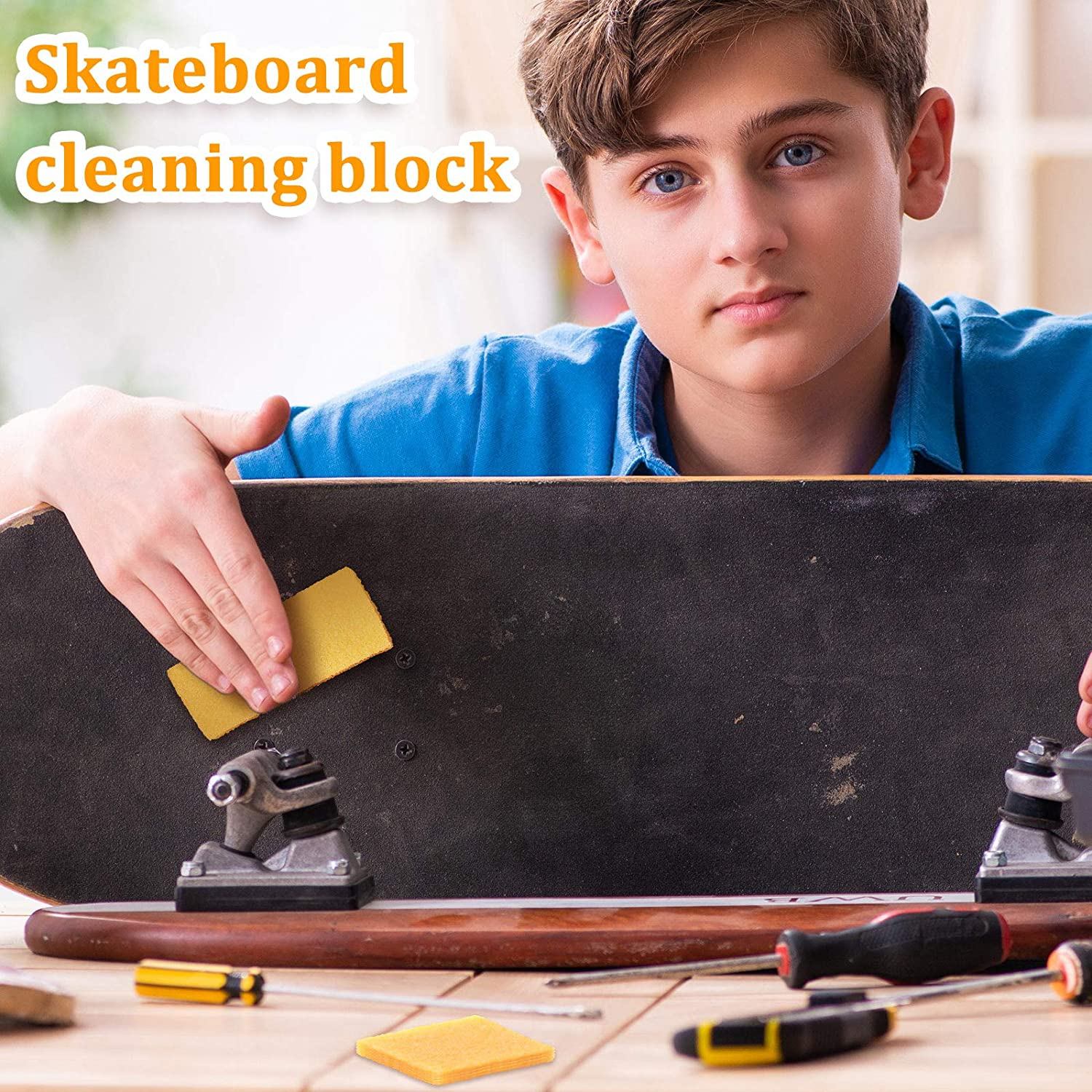 Skateboard Shoes and Sanding Discs Scooter Rough Tape 6 Pieces Abrasive Cleaning Stick Skateboard Cleaner Rubber Skateboard Sander Cleaning Block Wipe Eraser for Cleaning Sandpaper