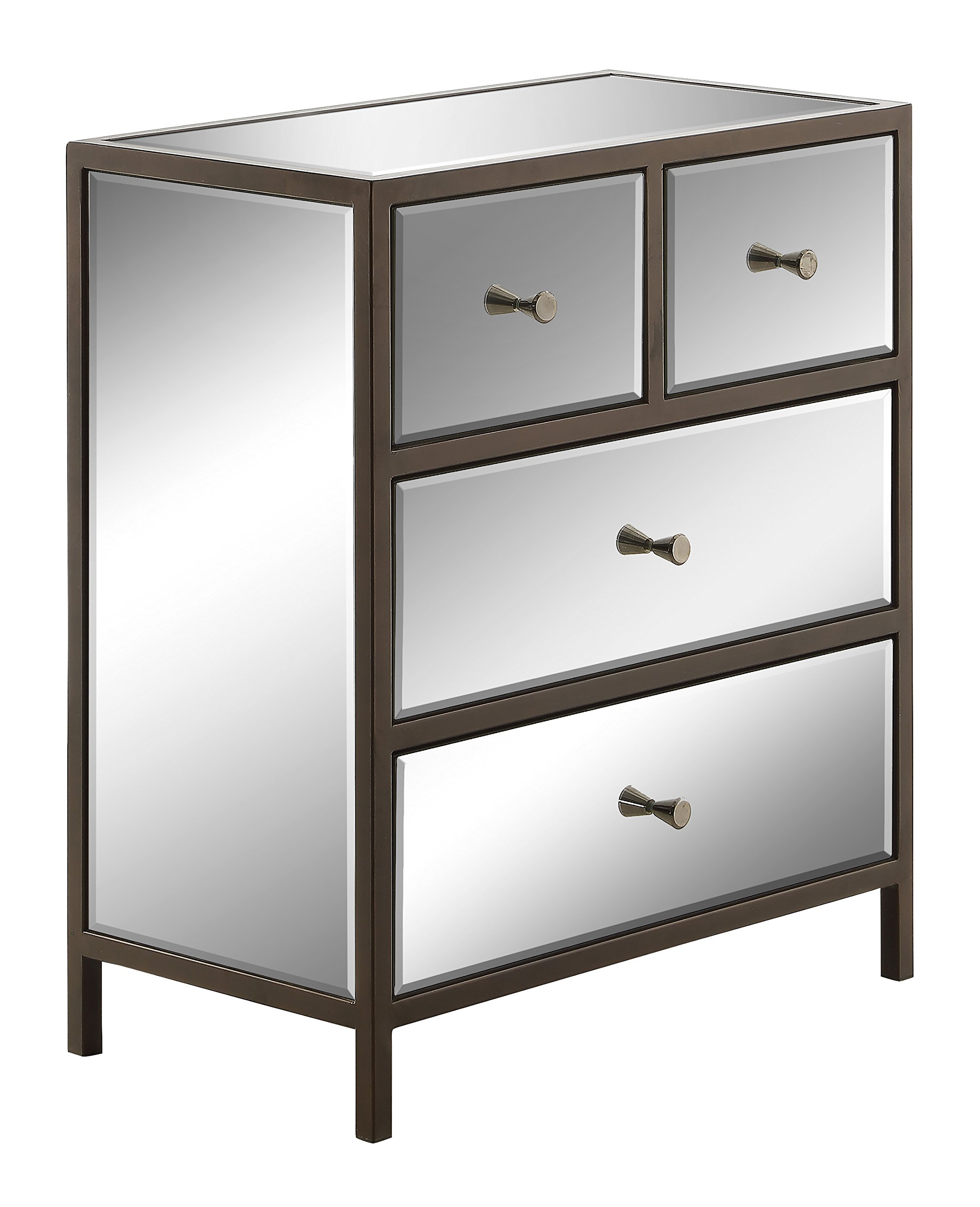 OSP Designs Office Star Marquis 4-Drawer Storage Cabinet with Mirror Surfaces