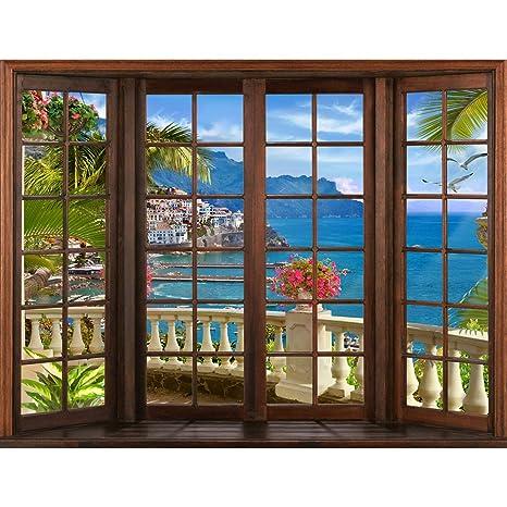 Tapeten Fototapeten Fenster zum Meer - Vlies Wand Tapete ...