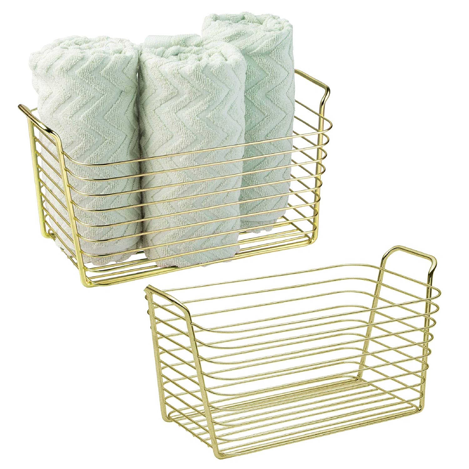 mDesign Storage Basket Bin with Built-in Handles for Organizing Hand Soaps, Body Wash, Shampoos, Lotion, Conditioners, Hand Towels, Hair Accessories, Body Spray - Medium, Pack of 2, Gold/Brass MetroDecor