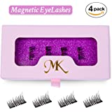 MK False Magnetic Eyelashes 3D Reusable [No Glue] Premium Quality Dual Magnetic False Eyelashes Set for Natural Look - Best Fake Eye Lashes Extensions One Two Cosmetics -Ultra Thin 1 Pair (4 Pieces)