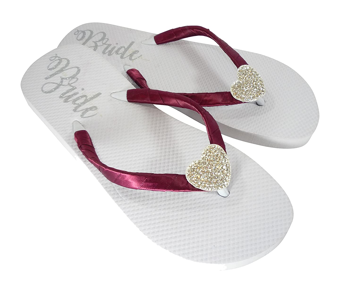 dec1f3ae466e Amazon.com  Wine Red   Silver Heart Rhinestone Bride Flip Flops on White  Flat Sandals