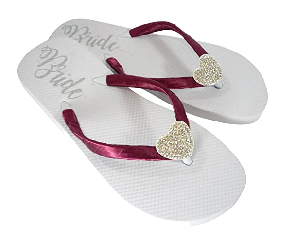 4a14a14110d0c Amazon.com  Wine Red   Silver Heart Rhinestone Bride Flip Flops on ...