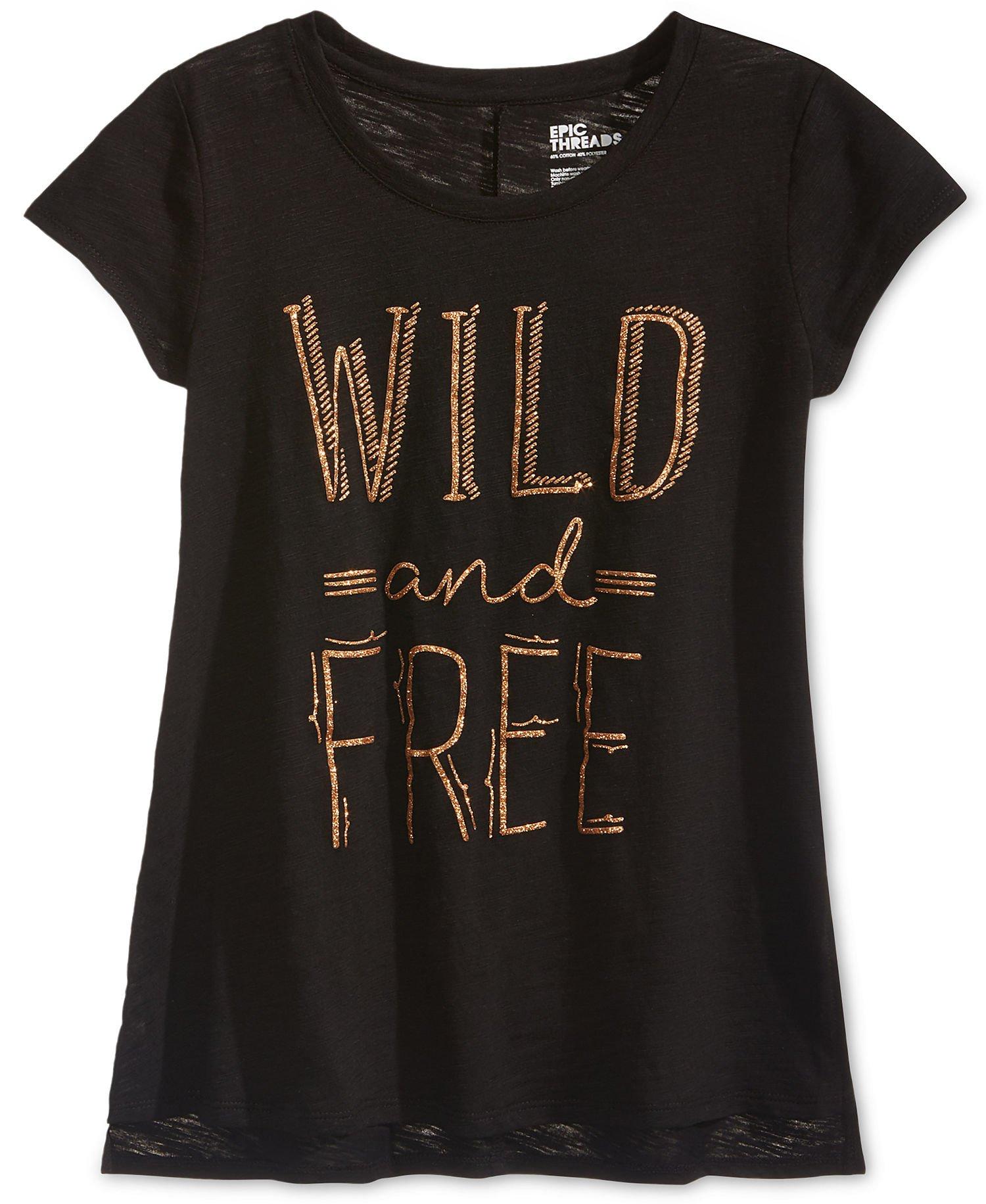 Epic Threads Girls T-Shirt Tee Shirt (XLarge, Black)