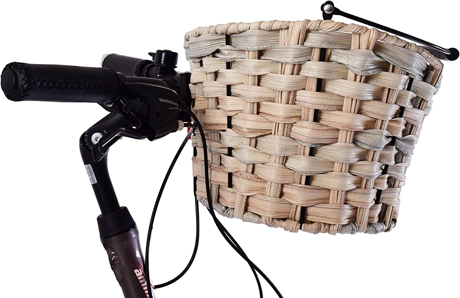 Front Polyrattan Bike Bicycle Oval Q//R Shopping Basket Luggage /& Handle Natural Ammaco