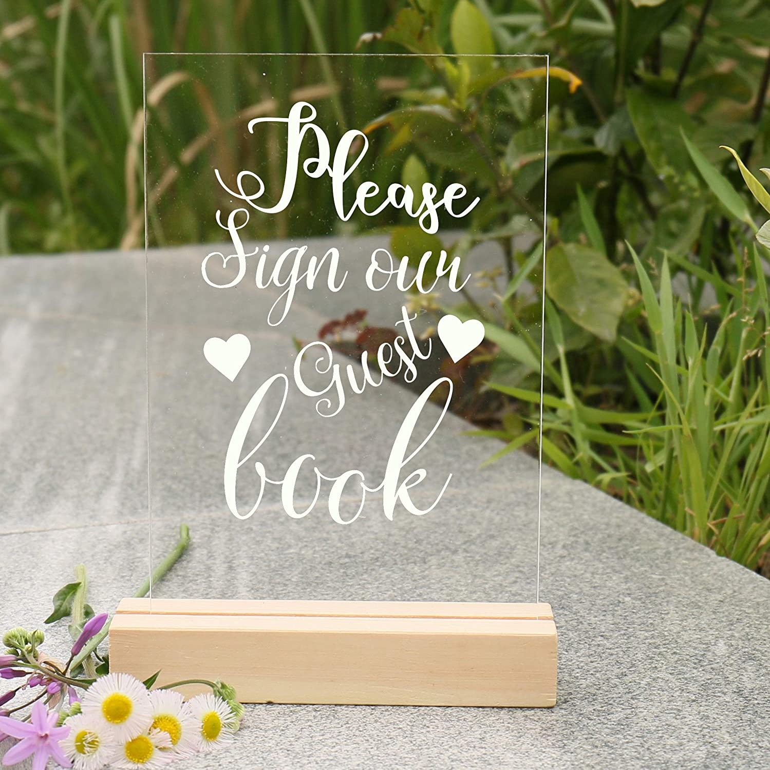 """4.7/""""x7 Clear Display Stand with Base Calligraphy Reception Photograph Prop Party Favors Decoration Memorial Guestbook etc Vinyl Letters Cards /& Gifts oitin Acrylic Wedding Sign"""