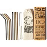 Reusable Metal Straws by Soseas, 8 Pack Stainless Steel Eco Drinking Straws, Plastic-Free with Cotton Cleaning Brushes and Linen Carry Case, 4 Bent 4 Straight, Rose Gold, Gold, Silver and Black